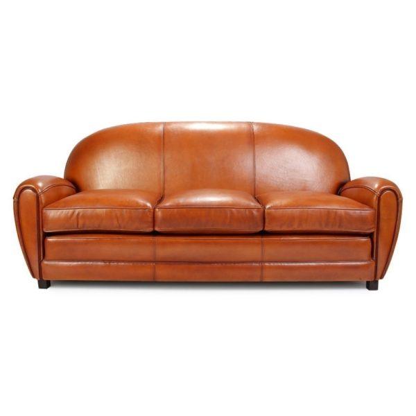 Années folles, canapé 3 places, cuir havane, face