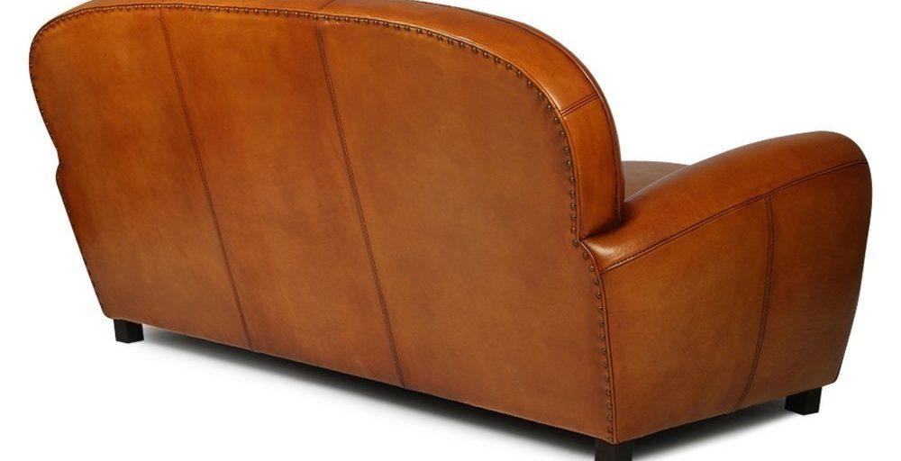 Années folles, canapé 3 places, cuir havane, dos