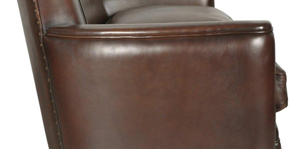 Belle Epoque, canapé 3 places, cuir chocolat, côté