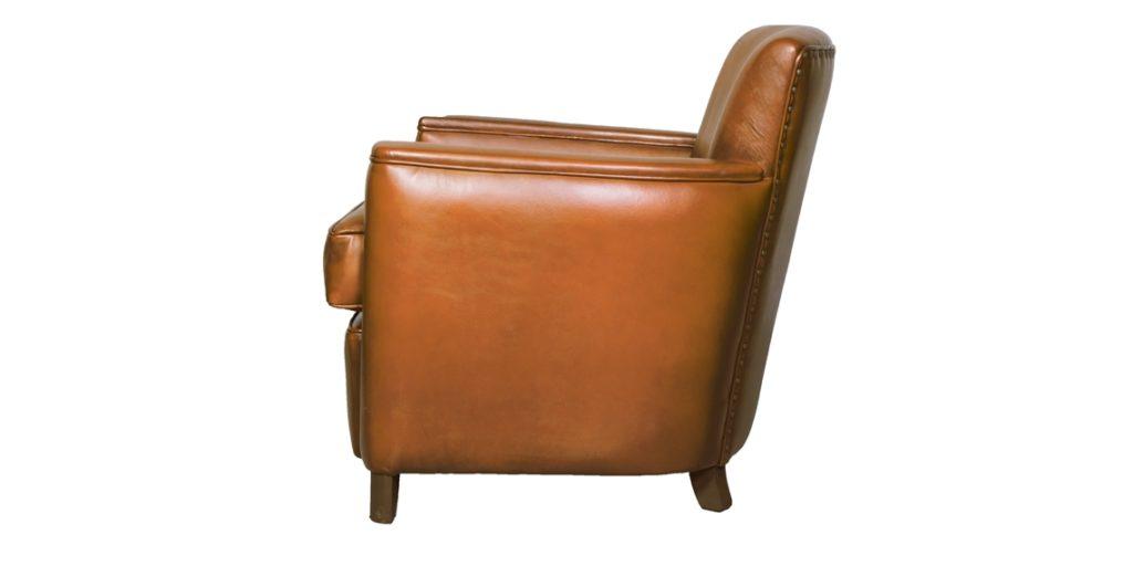 Belle époque, fauteuil, cuir havane, côté