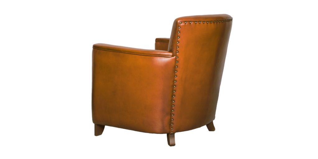 Belle époque, fauteuil, cuir havane, arrière