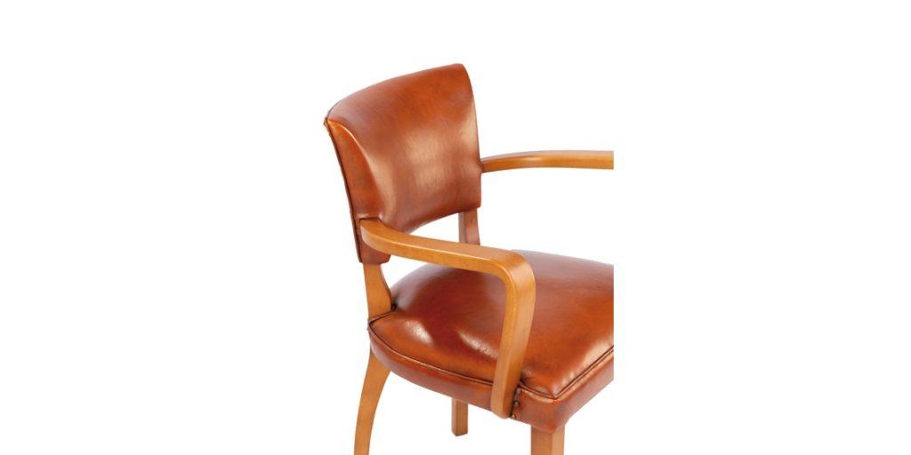Bridge, chaise, cuir rustique, accoudoir