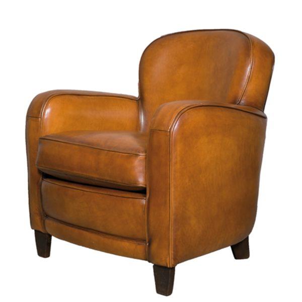 Bridge, fauteuil, cuir rustique, face
