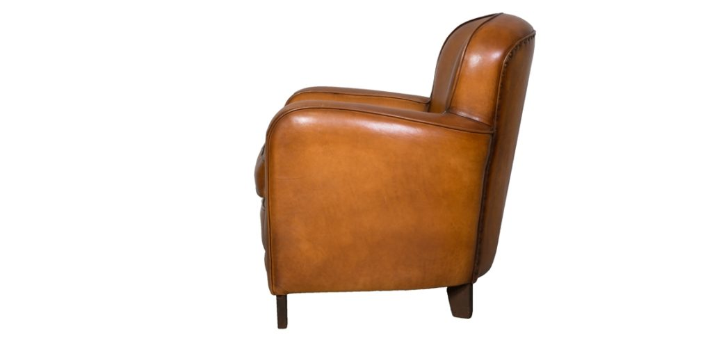 Bridge, fauteuil, cuir rustique, côté