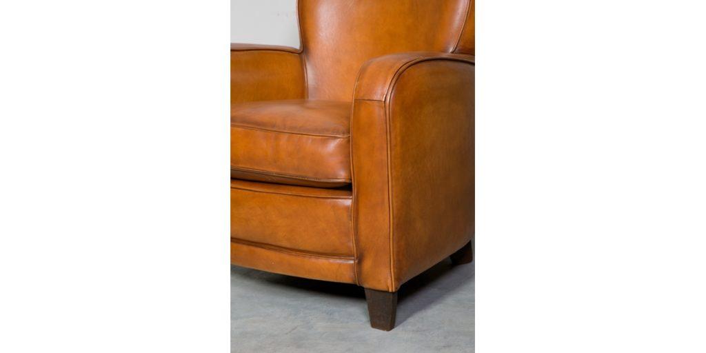 Bridge, fauteuil, cuir rustique, accoudoir