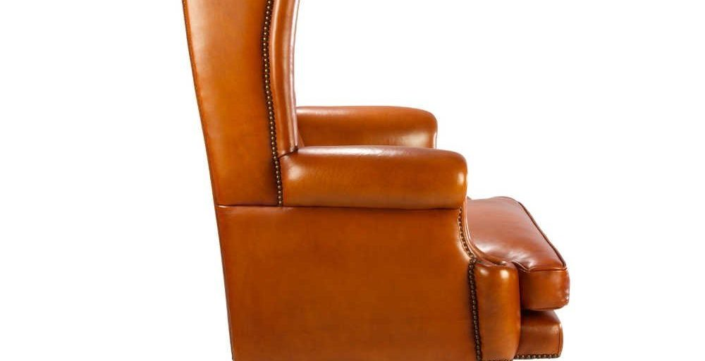 Buckingham, fauteuil, cuir havane, côté