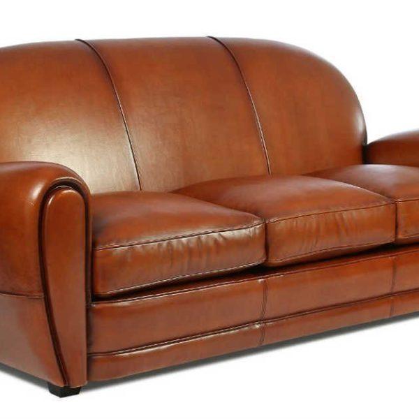 Cabaret, canapé 3 places, cuir rustique, face