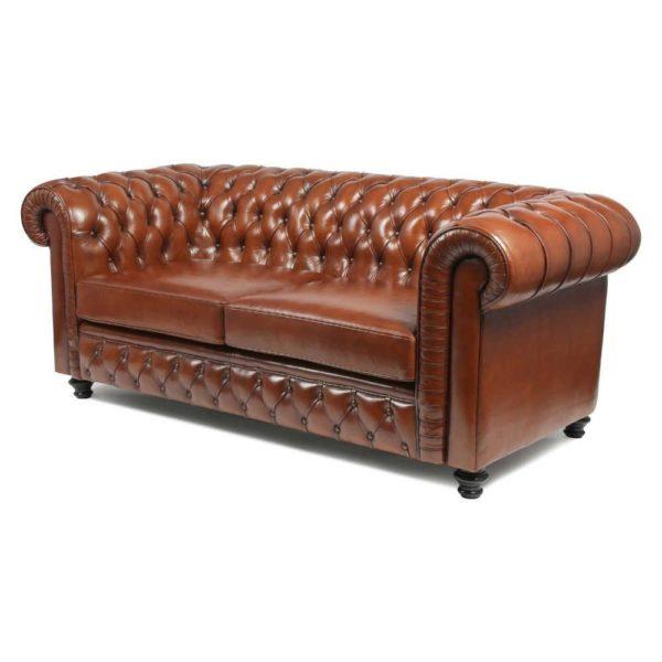 Churchill, canapé 2 places, cuir havane, arrière