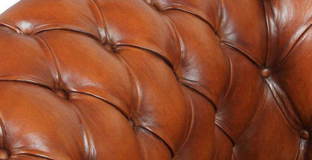 Churchill, canapé 2 places, cuir havane, détail