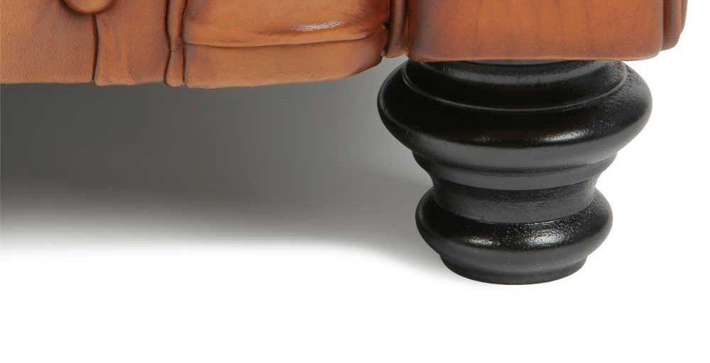 Churchill, canapé 3 places, cuir havane, détail