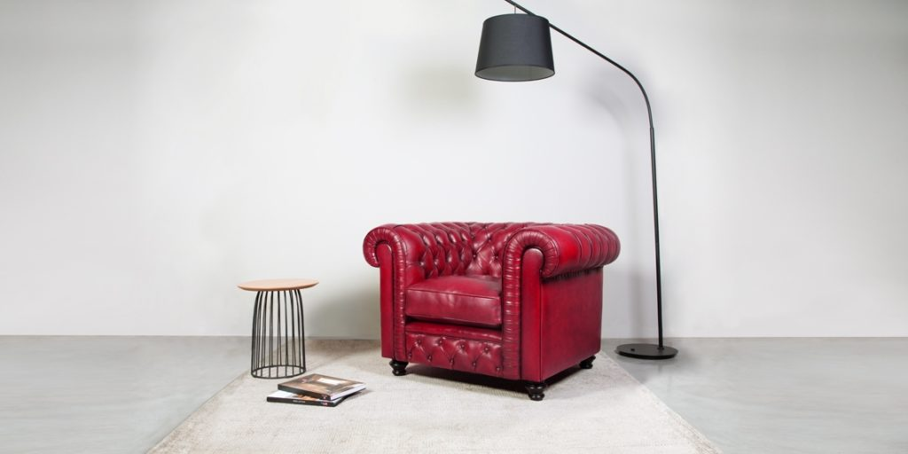 Churchill, fauteuil, cuir rouge, face