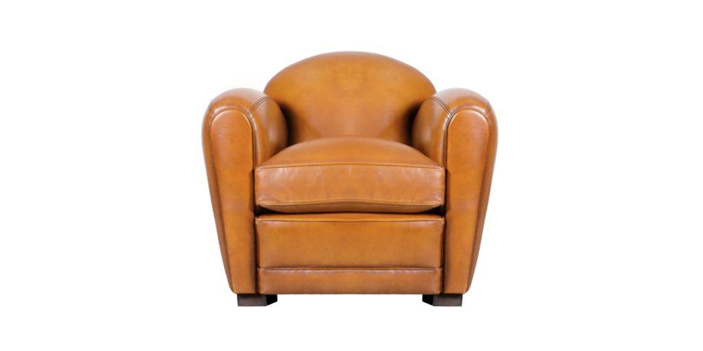 Corniche, fauteuil, cuir miel, face