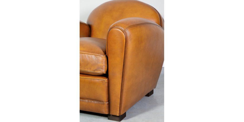 Corniche, fauteuil, cuir miel, accoudoir
