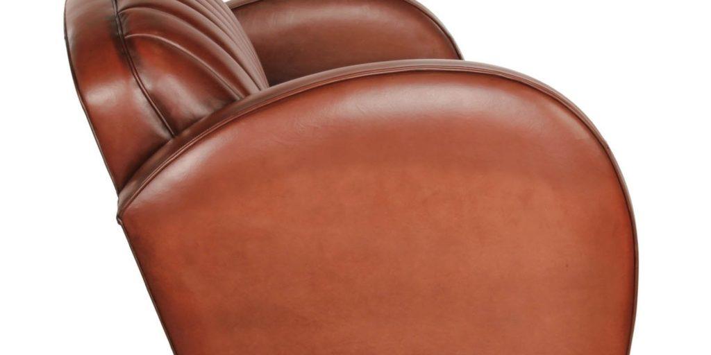 Corvette, canapé 3 places, cuir havane, côté