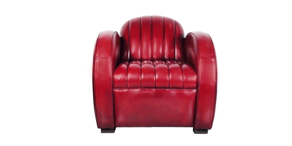 Corvette, fauteuil club, cuir rouge, face