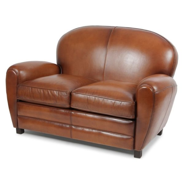 Coventry, canapé club 2 places, cuir rustique, face