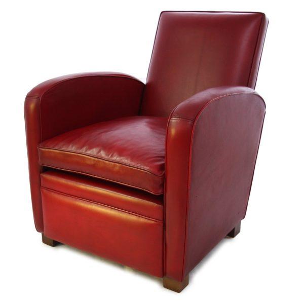 Deauville, fauteuil, cuir rouge, face