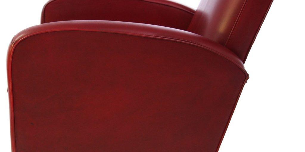 Deauville, fauteuil, cuir rouge, côté