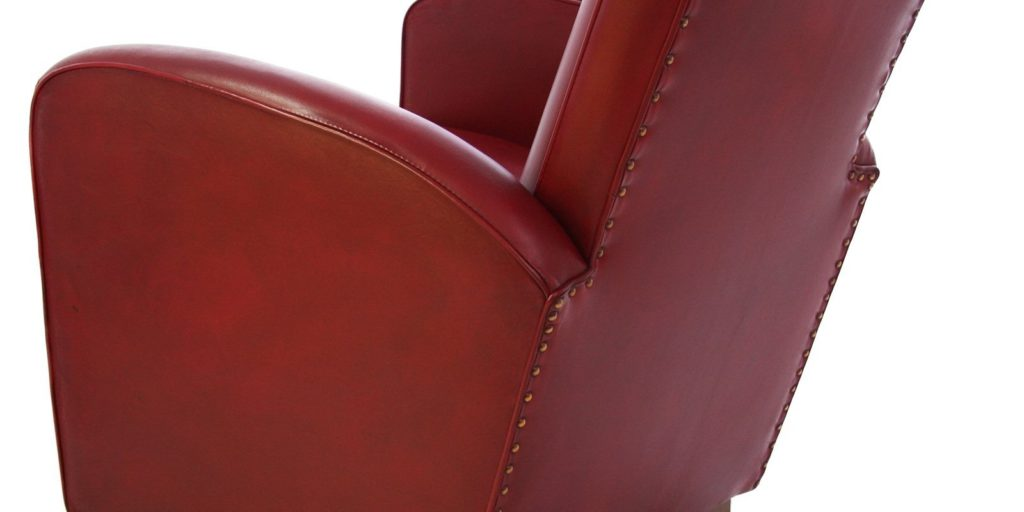 Deauville, fauteuil, cuir rouge, dos