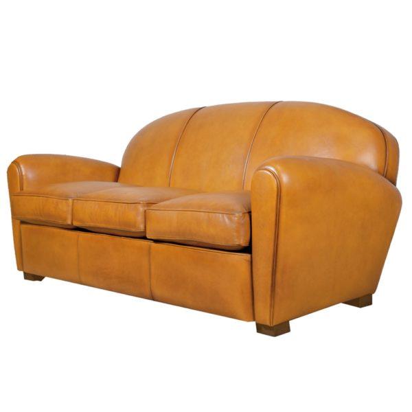 Epicure, canapé 3 places, cuir miel, face