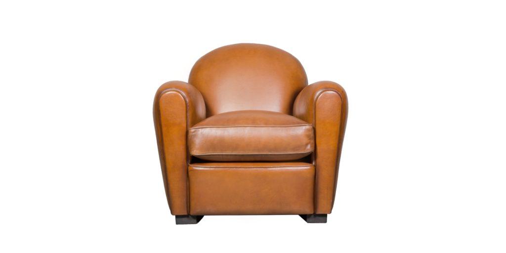 Epicure, fauteuil, cuir havane, face