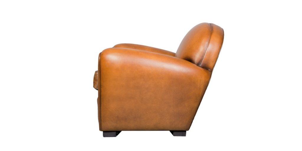 Epicure, fauteuil, cuir havane, côté