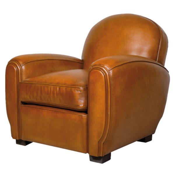 Gentleman, fauteuil club, cuir rustique, face