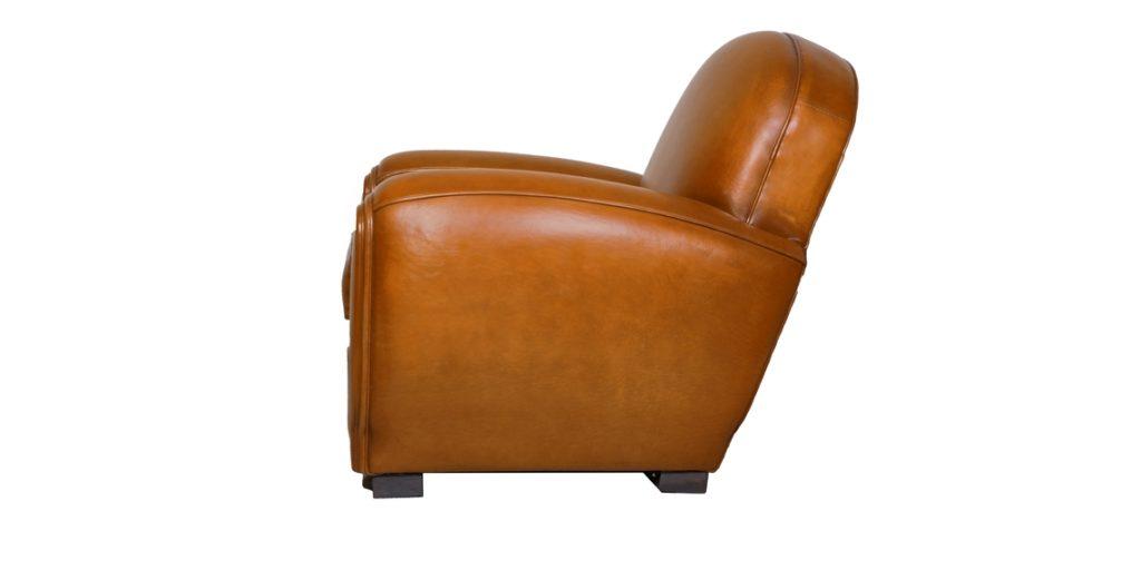 Gentleman, fauteuil club, cuir rustique, côté