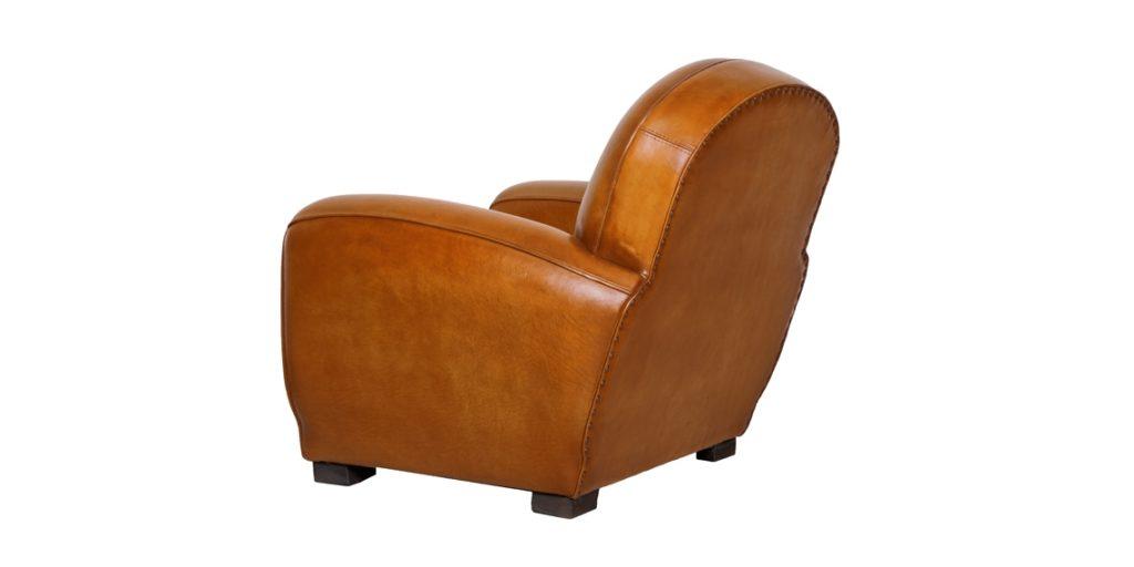 Gentleman, fauteuil club, cuir rustique, arrière