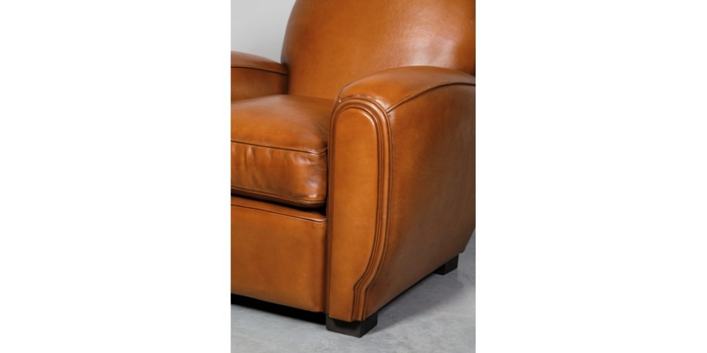 Gentleman, fauteuil club, cuir rustique, accoudoir