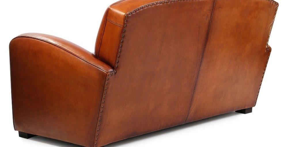 Grand carré, canapé 2 places, cuir havane, dos