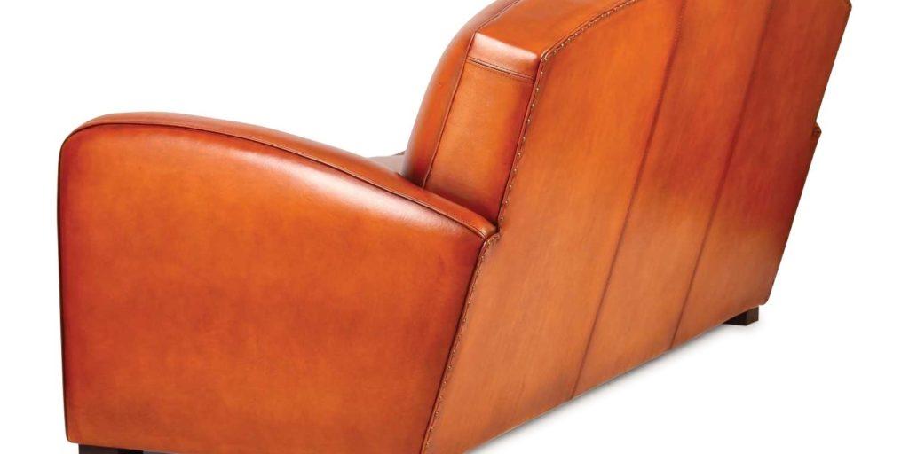 Grand carré, canapé club 3 places, cuir rustique, arrière