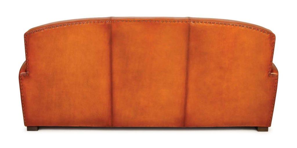 Grand carré, canapé club 3 places, cuir rustique, dos
