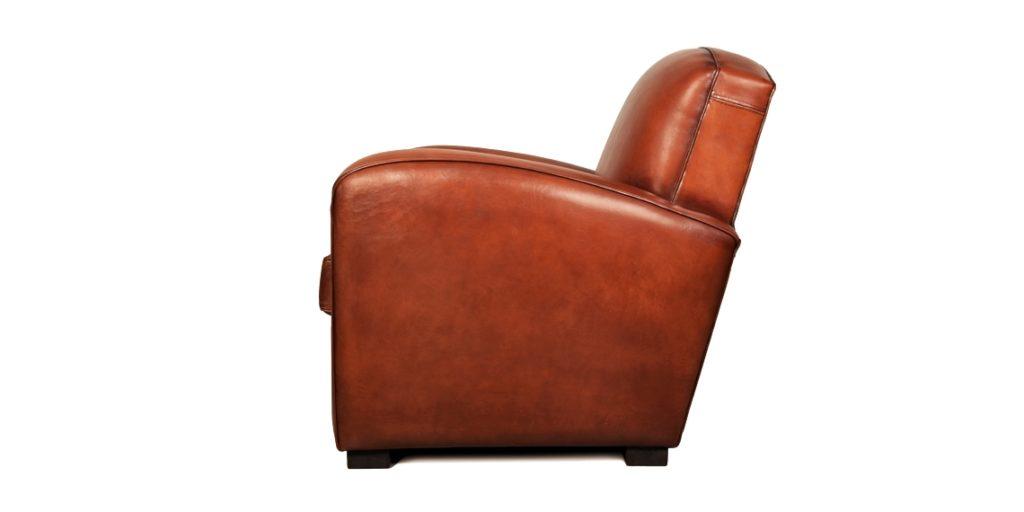 Grand carré, fauteuil club, cuir cognac, côté