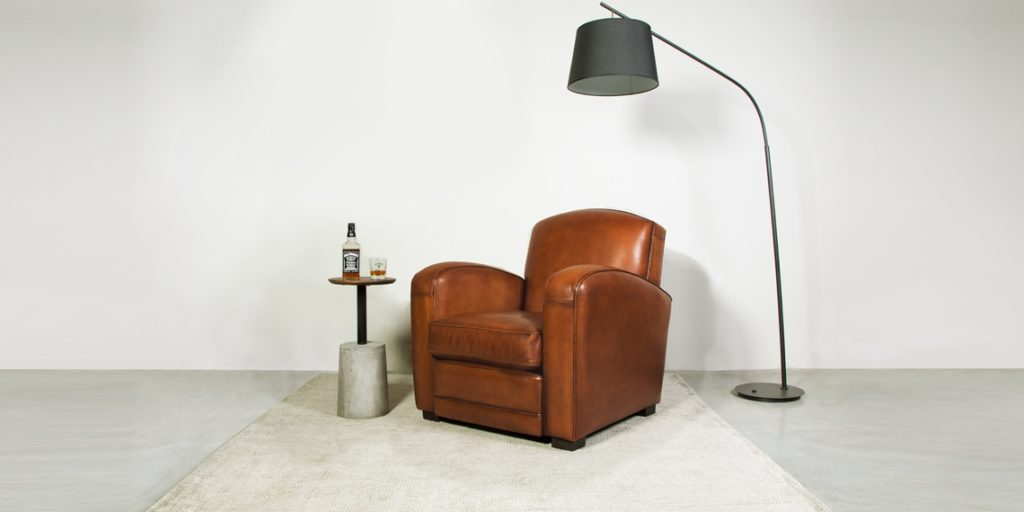 Grand carré, fauteuil club, cuir cognac, face