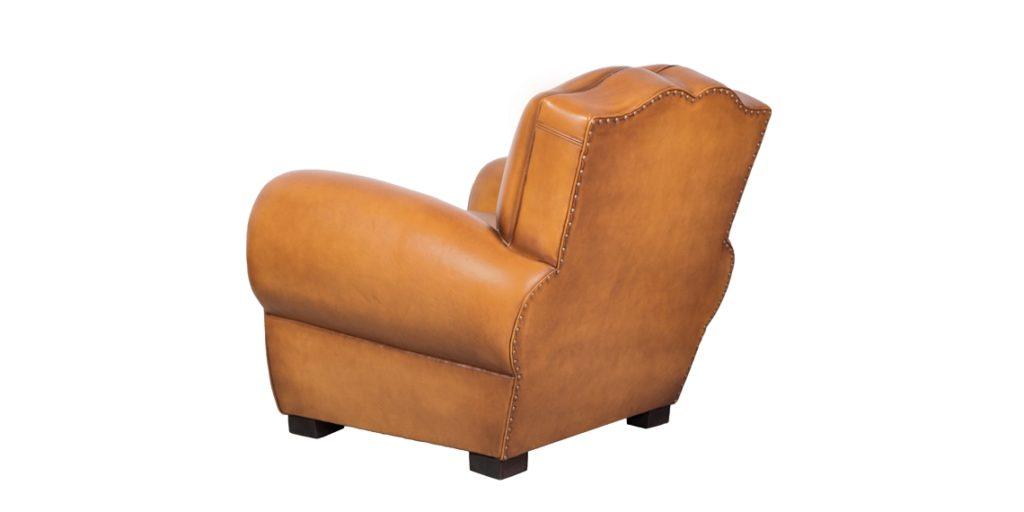 Grand Moustache, fauteuil, cuir miel, dos