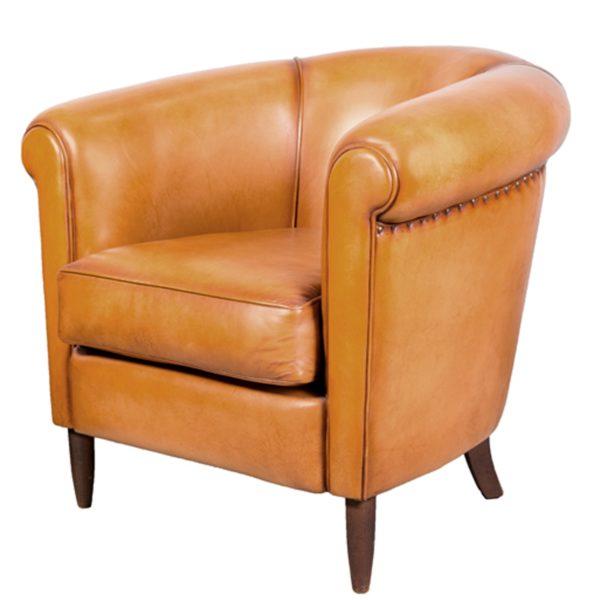 harry's 1950, fauteuil club, cuir miel, face