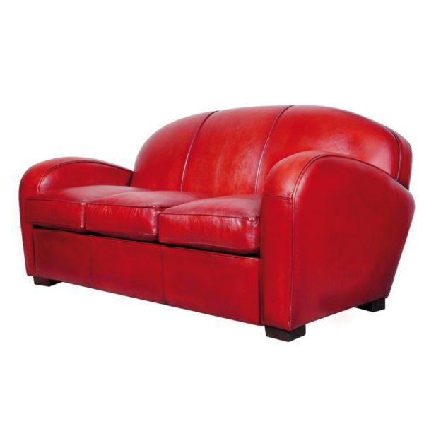 Hemingway, canapé 3 places, cuir rouge, face