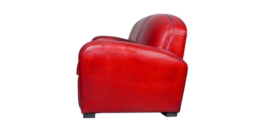 Hemingway, canapé 3 places, cuir rouge, côté