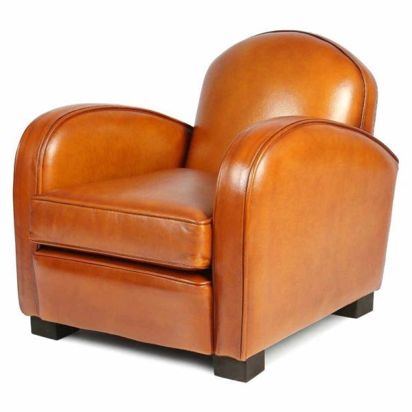 Hemingway enfant, fauteuil, cuir miel, 3/4 face