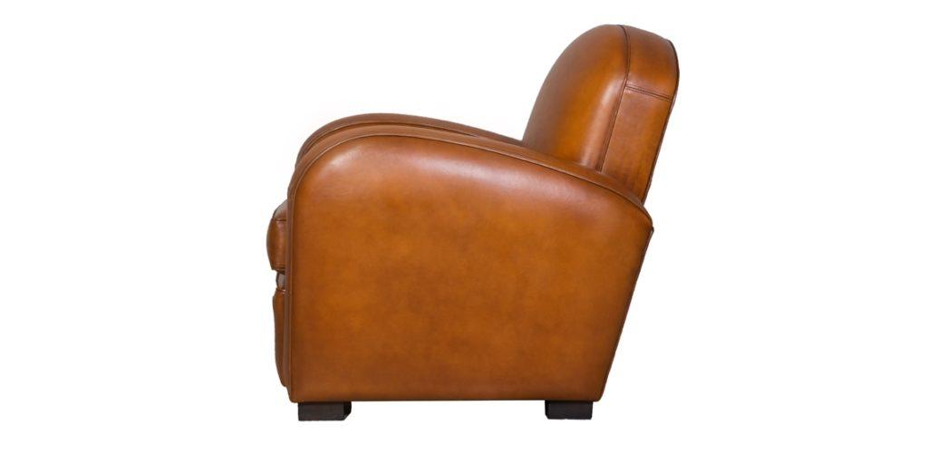 Hemingway, fauteuil, cuir rustique, côté