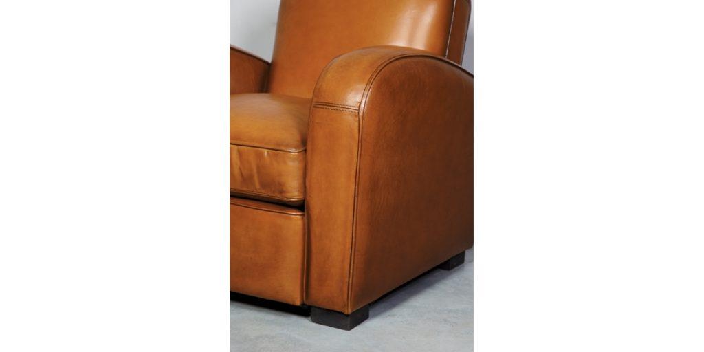 Hemingway, fauteuil, cuir rustique, accoudoir