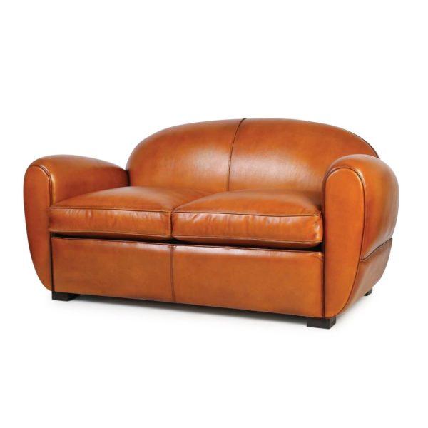 Jules, canapé 2 places, cuir havane, face