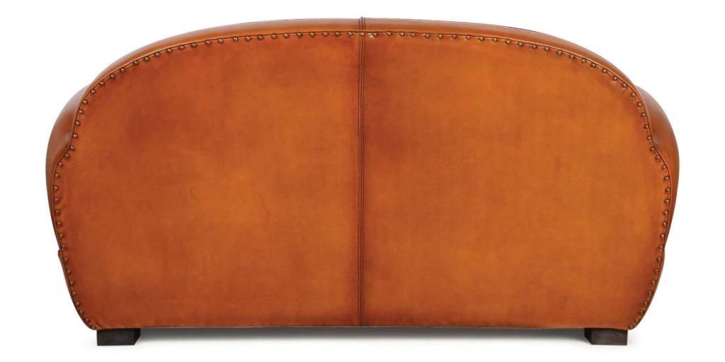 Jules, canapé 2 places, cuir havane, dos
