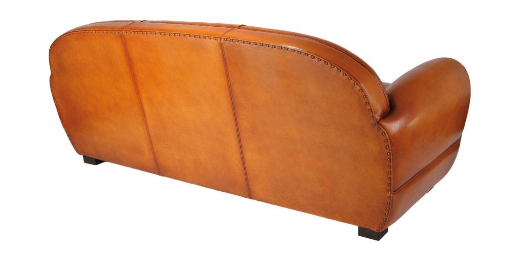 Jules, canapé club 3 places, cuir rustique, dos