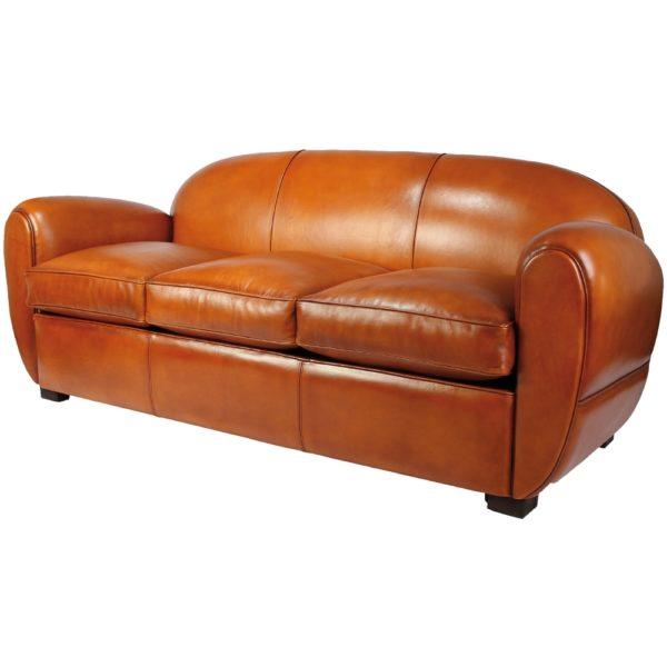 Jules, canapé club 3 places, cuir rustique, face
