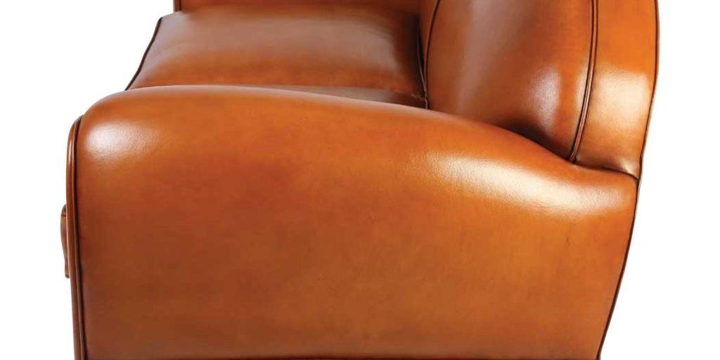 Jules, canapé convertible 2 places, cuir havane, côté