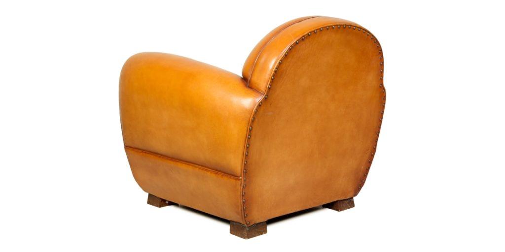 Jules, fauteuil club, cuir miel, arrière