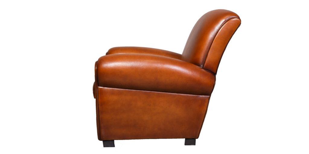 Lindbergh 1927, fauteuil club, cuir cognac, côté