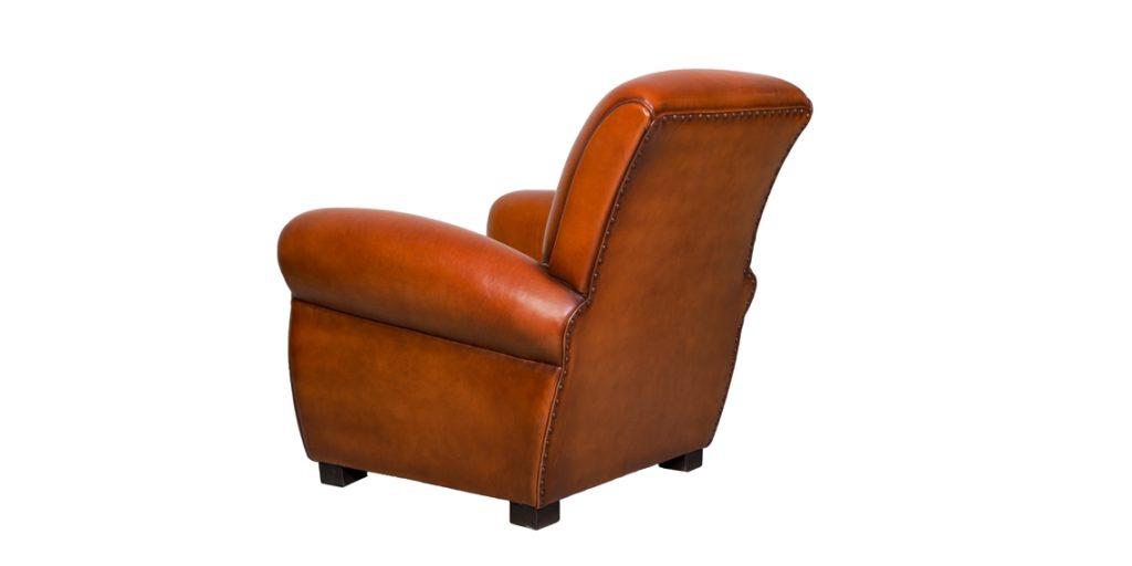 Lindbergh 1927, fauteuil club, cuir cognac, arrière